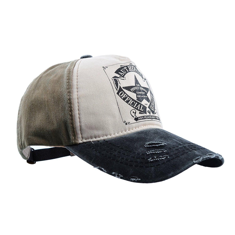 Baseball Cap Golf Cap Washed Cotton - Star Black Brim - CZ17YK3KLC6 - Hats    Caps 1c3df5c1eef4