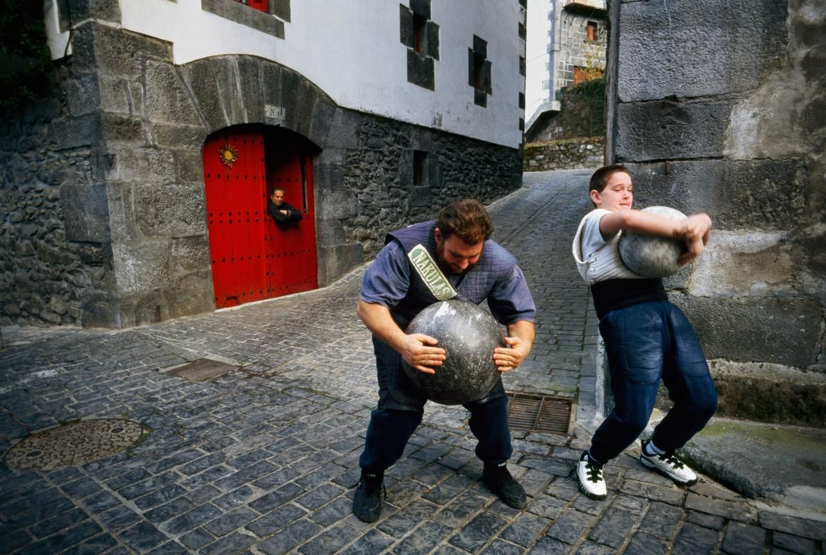 Picture of father and son Basque stone lifters