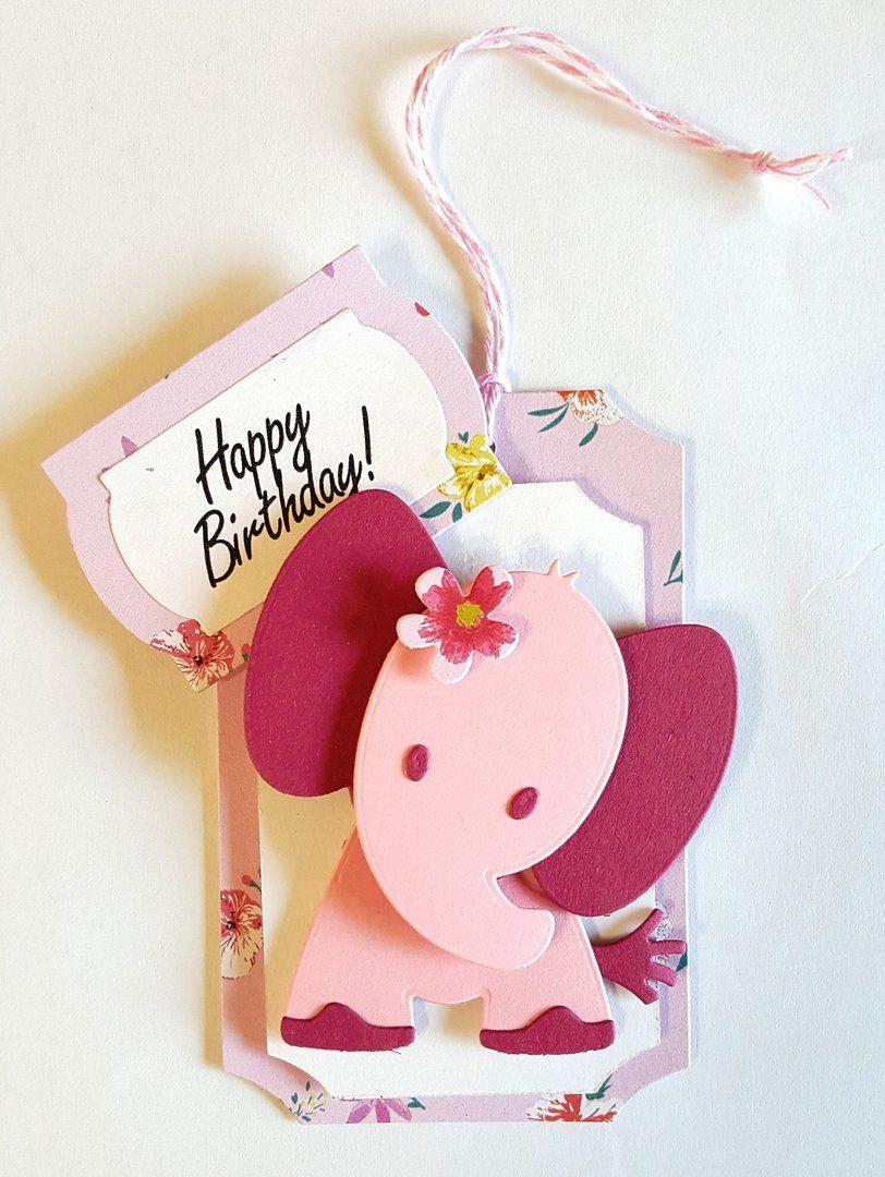 Geschenkanhänger Selber Bastelnglückwunschkarten Elefant