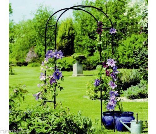 Steel-Arch-Arbor-Garden-Trellis-Outdoor-Yard-Patio-Metal-Decor-Gazebo-New-Black