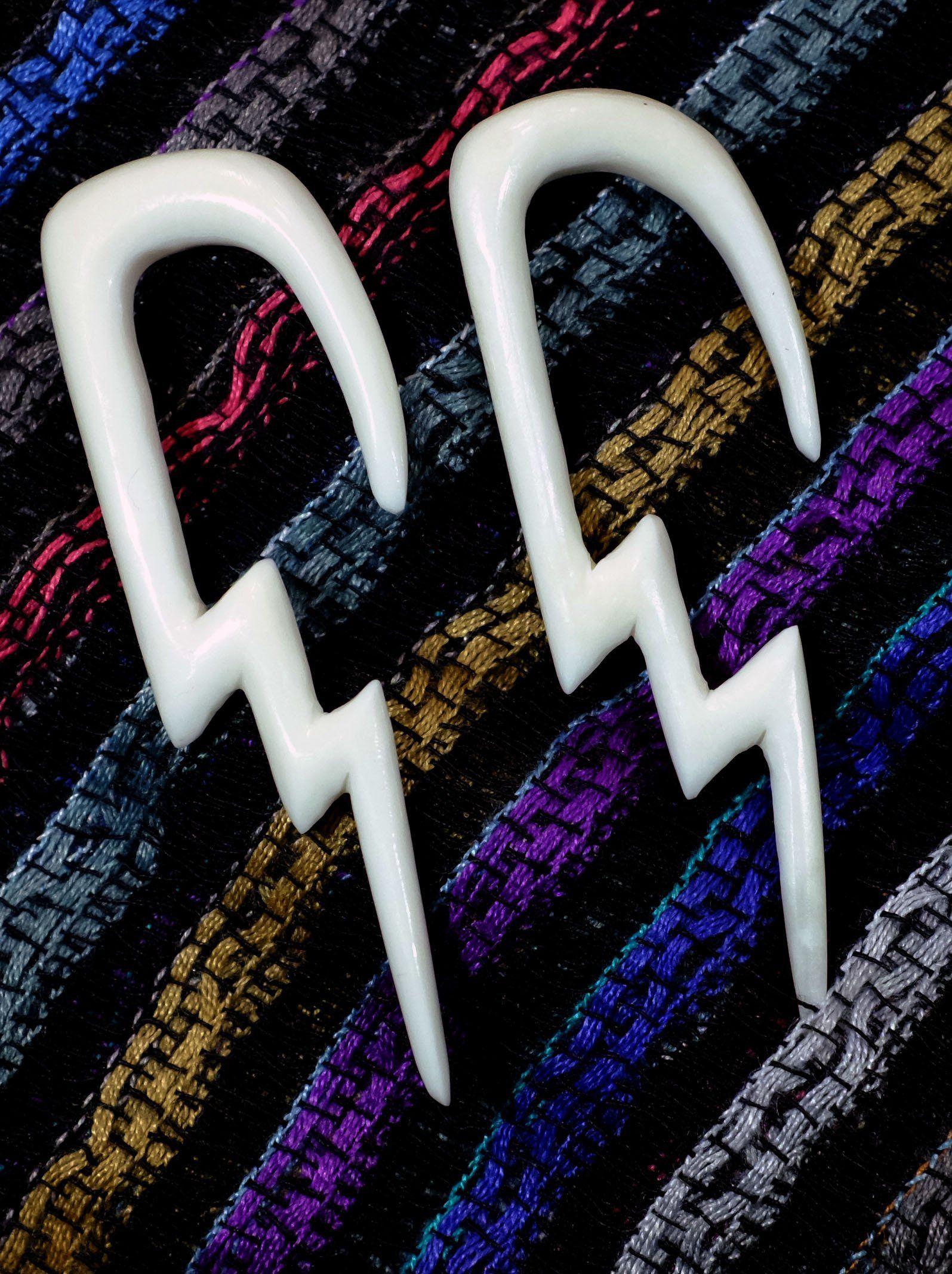 Lightning Bolt Acrylic Ear Gauge Buffalo Taper | Ear ...  |Lightning Bolt Gauges