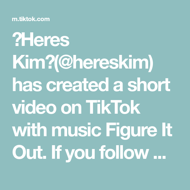 Heres Kim Hereskim Has Created A Short Video On Tiktok With Music Figure It Out If You Follow My Ig Ppl Ask What App I Use For My Stories I Just Use Gifs