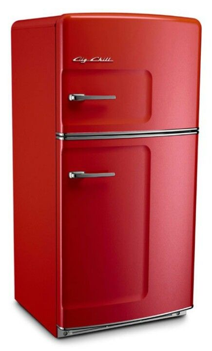 Red Fridge And Stove White Walls Butcher Block Boom