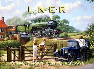 LNER Railways Metal Sign, Retro Steam Engine, English Countryside, 1930s Sedan #OMSC #Country