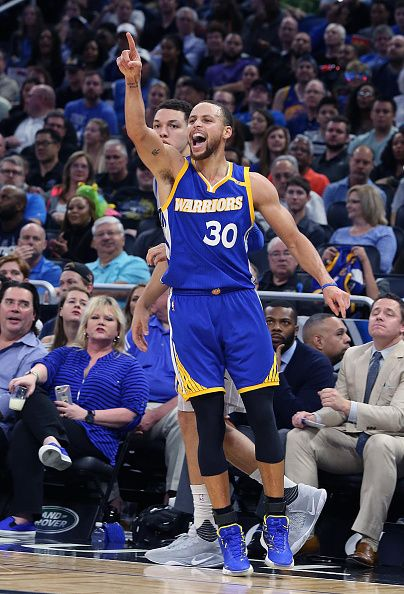 1cf941960991 Golden State Warriors guard Stephen Curry leaps and screams in celebration  after hitting a threepoint shot against the Orlando Magic on Sunday Jan 22.
