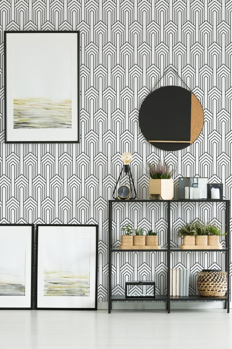 Black And White Art Deco Peel And Stick Wallpaper Geometric Etsy Wallpaper Bedroom Feature Wall Black And White Wallpaper Master Bedroom Wallpaper