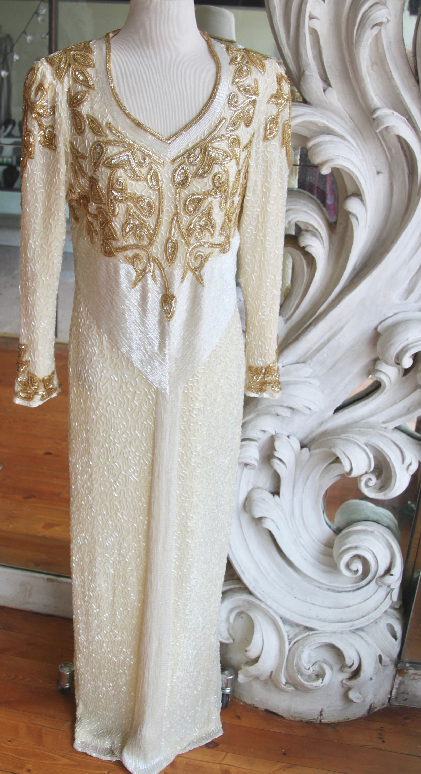 Vintage s s white u gold beaded gown by sweetlittlevillage