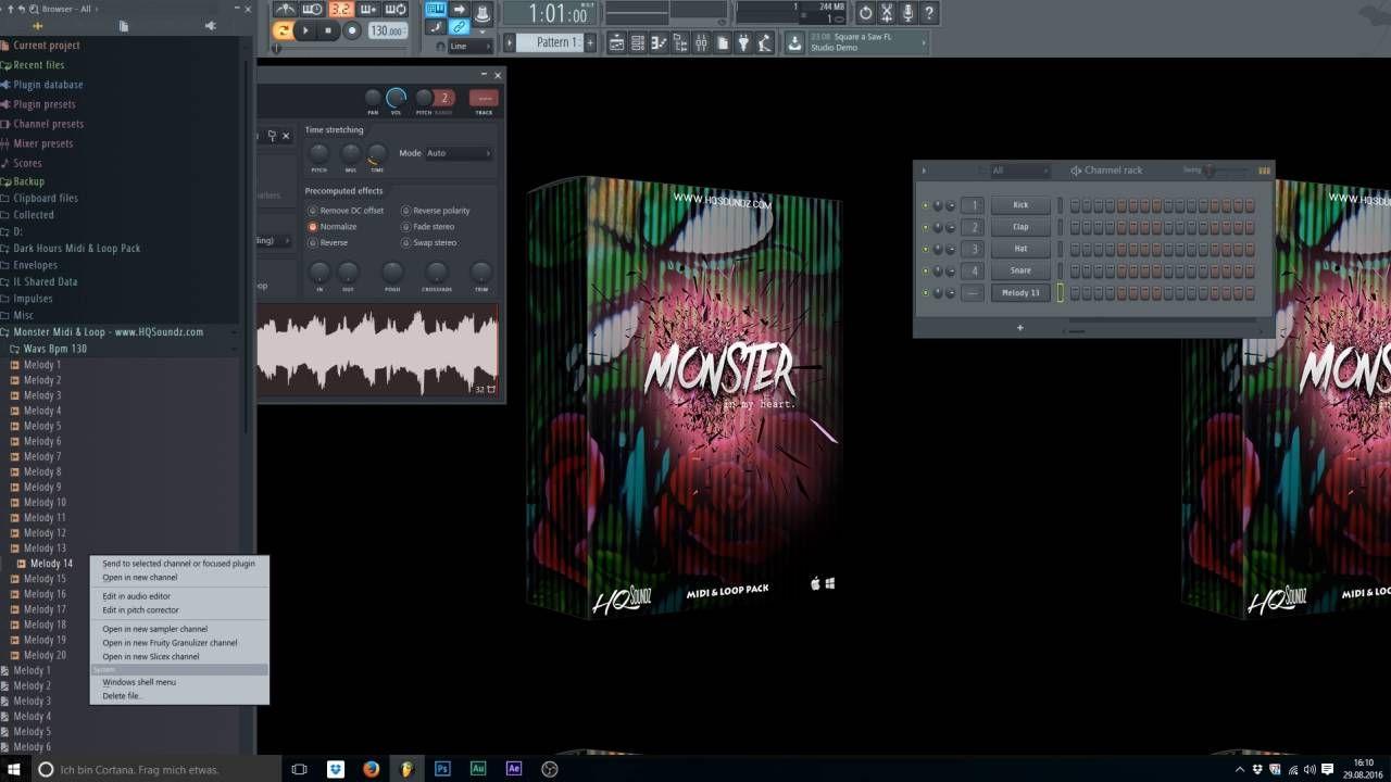 "FL Studio Midi & Loop Pack ""Monster"" EDM / TRAP Melodies 2016"