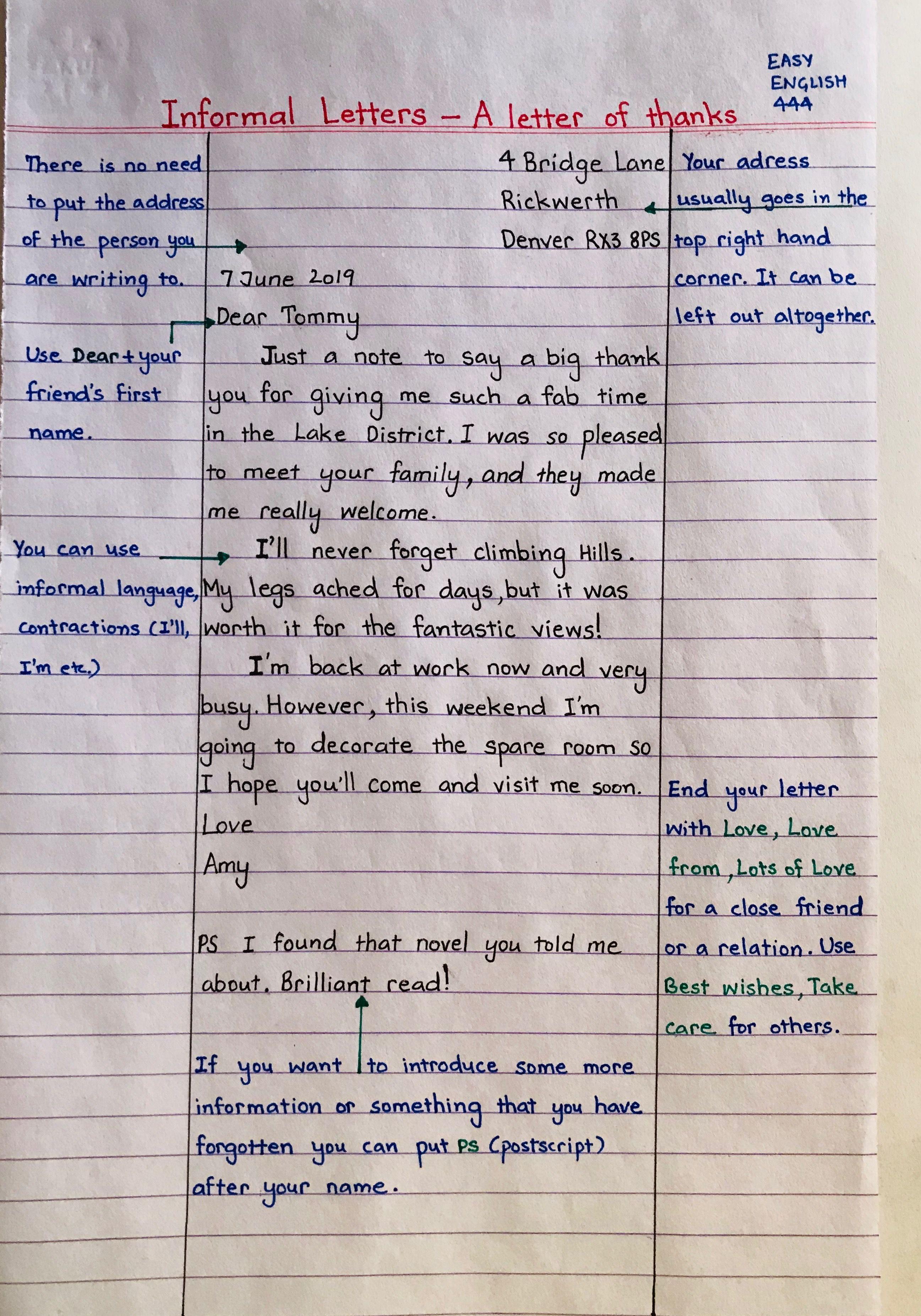 Informal Letter Writing Handwritten