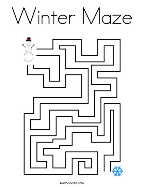 winter maze coloring page twisty noodle ot activities