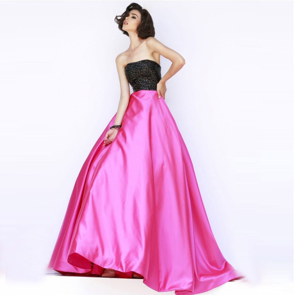 Fuchsia strapless crystal quinceanera dresses plus size