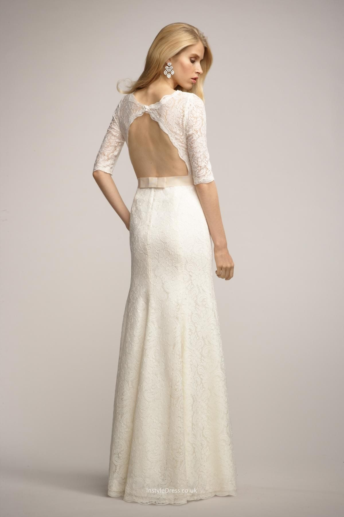 3 4 sleeve lace wedding dress  Blue dress   sleeve ivory lace dress  My Fashion dresses