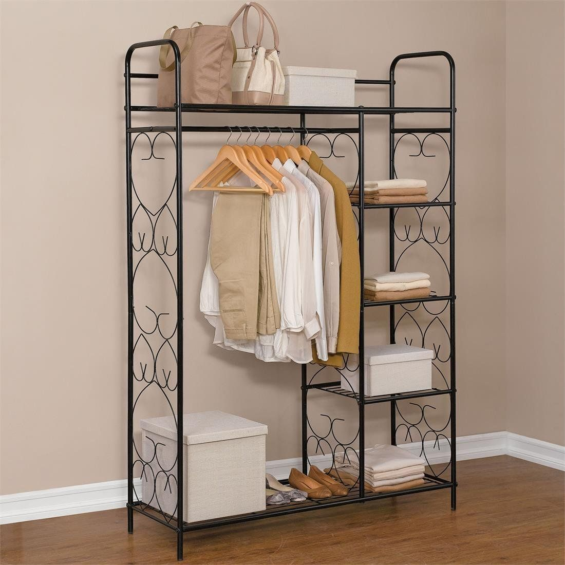 Brylanehome 5Tier Metal Closet With Hanging