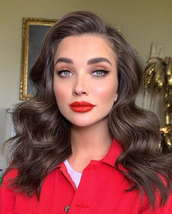 Premium Selena Hair Style Ombre Brown Synthetic Wigs For Women Two Tones Dark Roots Long Wavy Front Lace Wig Heat Resistant Hair Us 60 11 Gracefantasy Red Lipstick Looks Wedding Hair