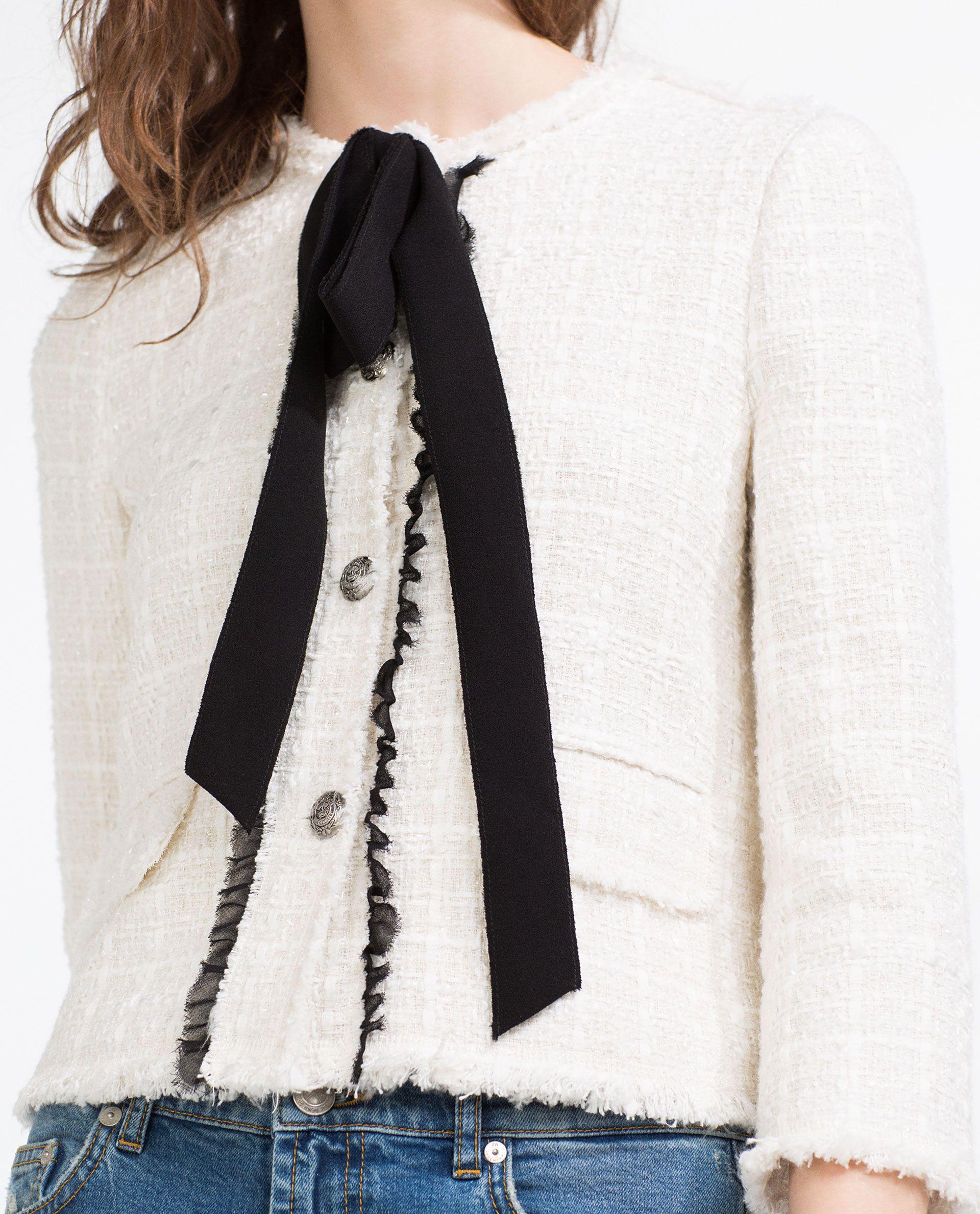 2c7b17c3 JACKET WITH BOW | JACKETS & WRAPS | Zara jackets, Jackets, Jeans ...
