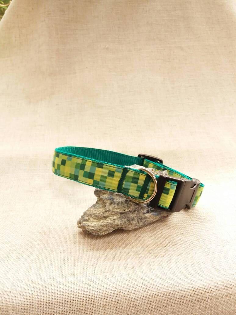 Minecraft theme dog collar Green gifts, Etsy, Minecraft
