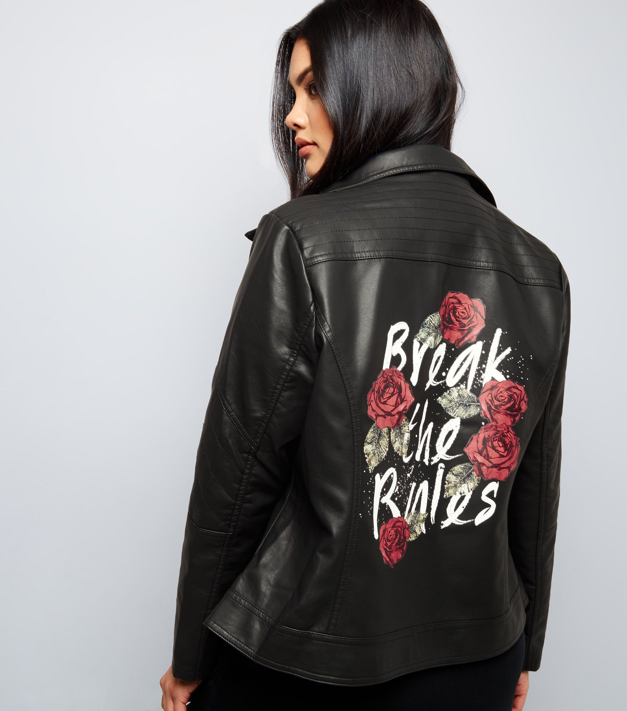 Curves Black Break The Rules Print LeatherLook Jacket