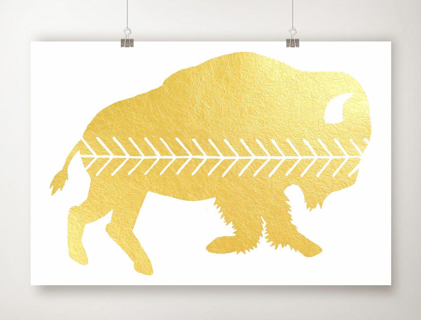 Gold Foil Buffalo Print, Gold Leaf Bison Artwork, Scandinavian Art ...