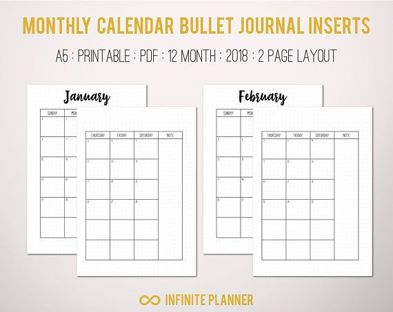 photo regarding Bullet Journal Monthly Calendar Printable known as Month to month Calendar (2018) - Bullet Magazine Printable