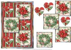 Hearts And Poinsettias Three Square Quick Card