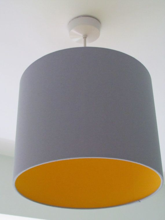 Handmade Contemporary Light Grey Fabric Lampshade Lightshade Lined With Colour Of Choice Ceiling Lamps Bedroom Yellow Light Shades Fabric Lampshade