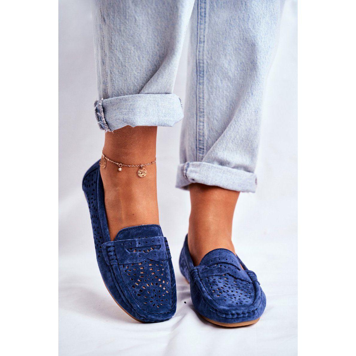 S Barski Mokasyny Damskie Azurowe Skorzane Granatowe Salem Loafers Shoes Mule Shoe