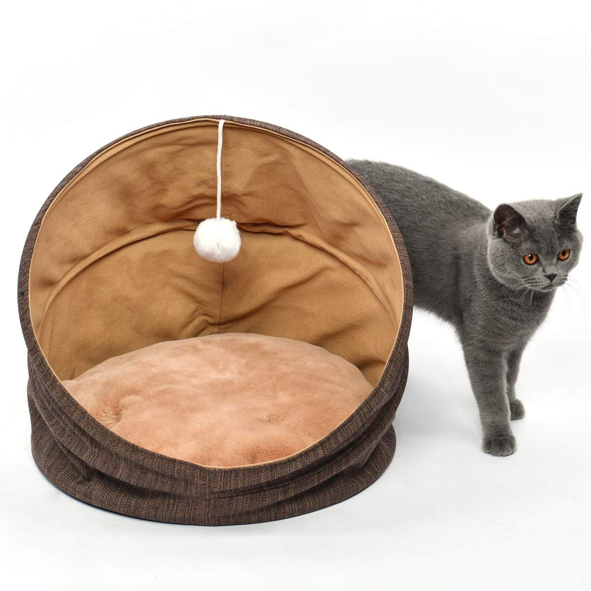 Cuddle Cave Pet Bed Tent For Cats Or Small Dogs Washable Foldable Kitten House With Luxury Shag Faux Fur Mattress Kitten House Bed Tent Pet Bed