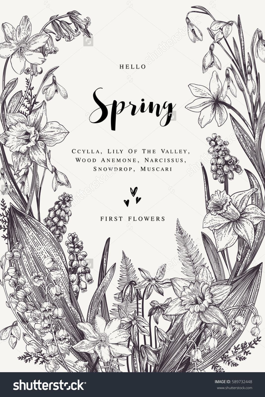 White And Black Illustration: Floral Wreath With Spring Flowers. Vector Vintage
