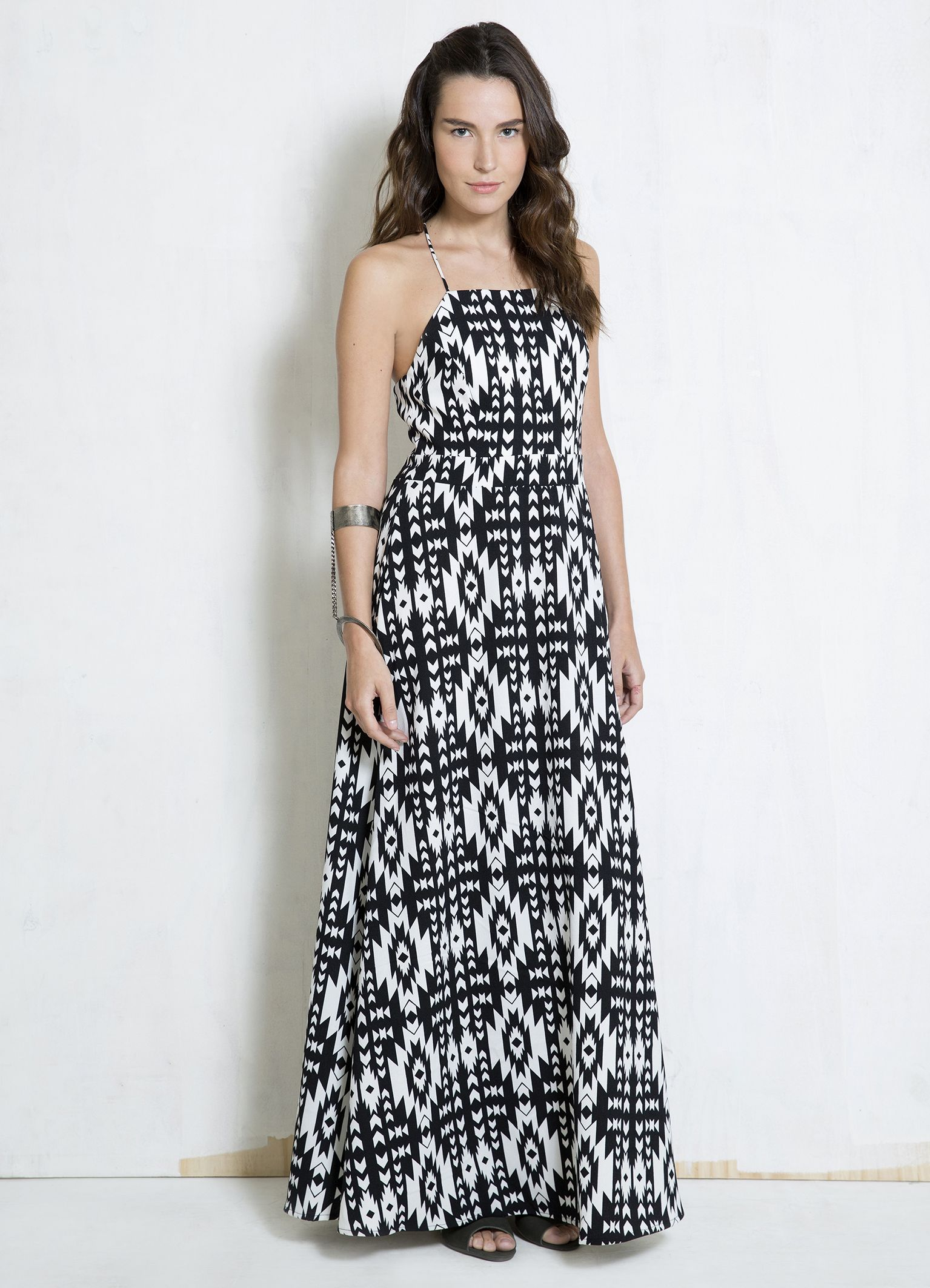 Vestido longo com estampa
