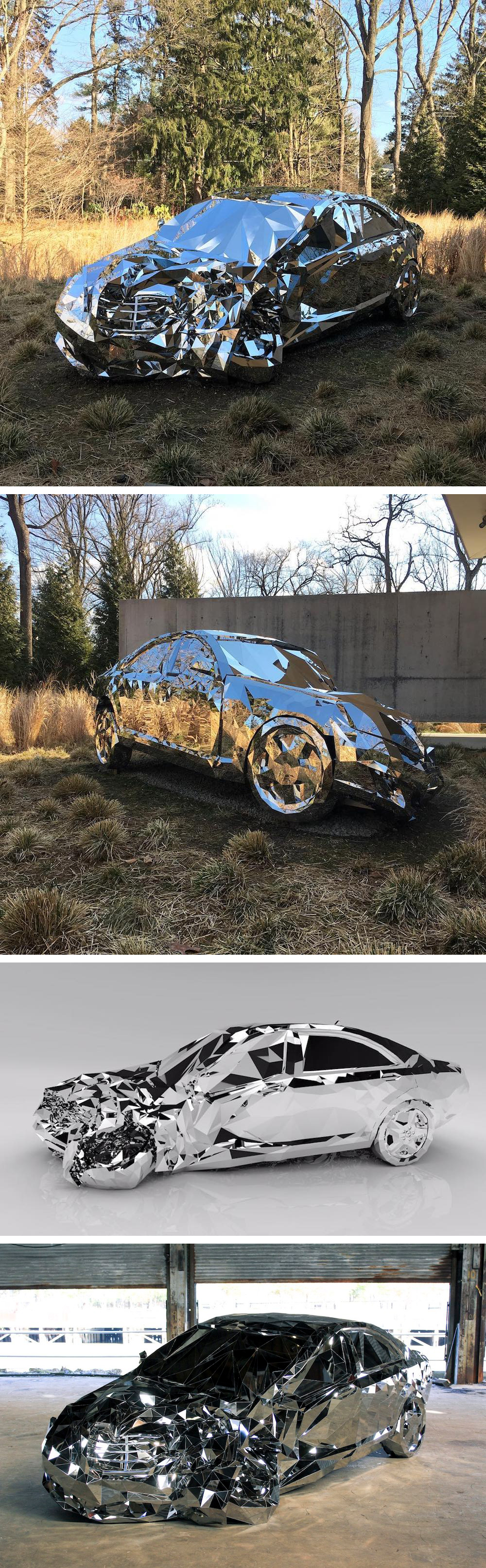 A Wrecked Luxury Car Built From Over Reflective Steel Parts - Artist builds a luxury car made from 12000 pieces of reflective steel