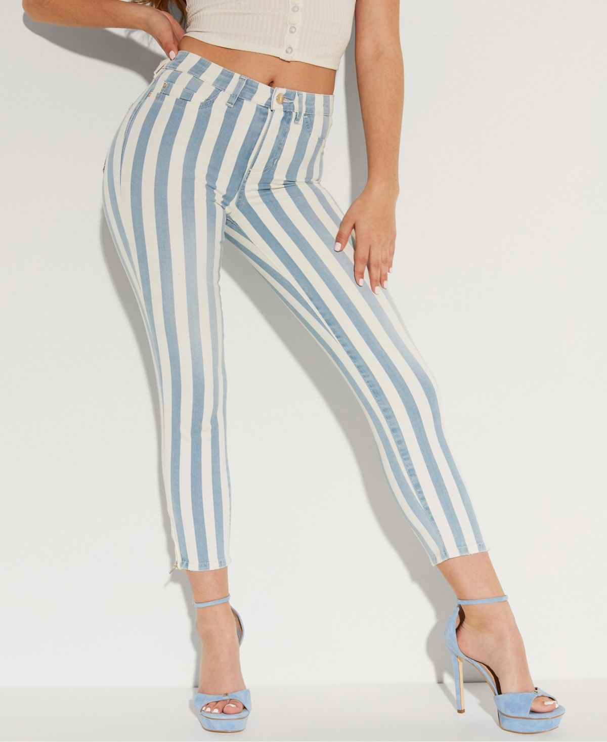 No matter what your day has in store, you can amplify your style with Guess' 1981 striped skinny jeans.