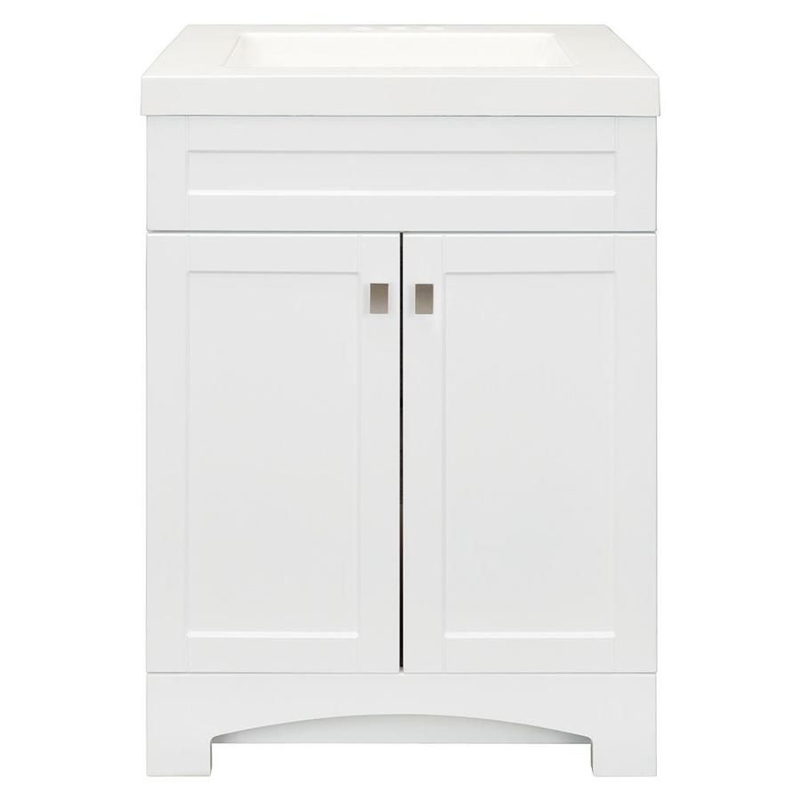 Style Selections Drayden 24 5 In White Single Sink Bathroom Vanity With White Cultured Marble Top Lowes Com Single Sink Bathroom Vanity Bathroom Sink Vanity Bathroom Vanity