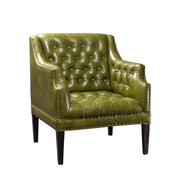 Superbe Kamille Green Button Tufted Leather Chair (India) | Overstock.com Shopping    The Best Deals On Chairs U0026 Recliners