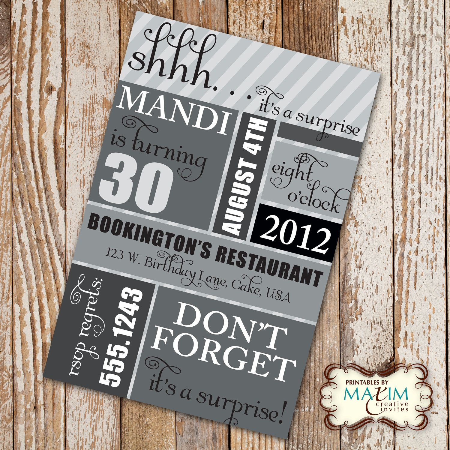 DIY Printable Invitation Surprise Birthday Party Birthday - Birthday party invitation uk