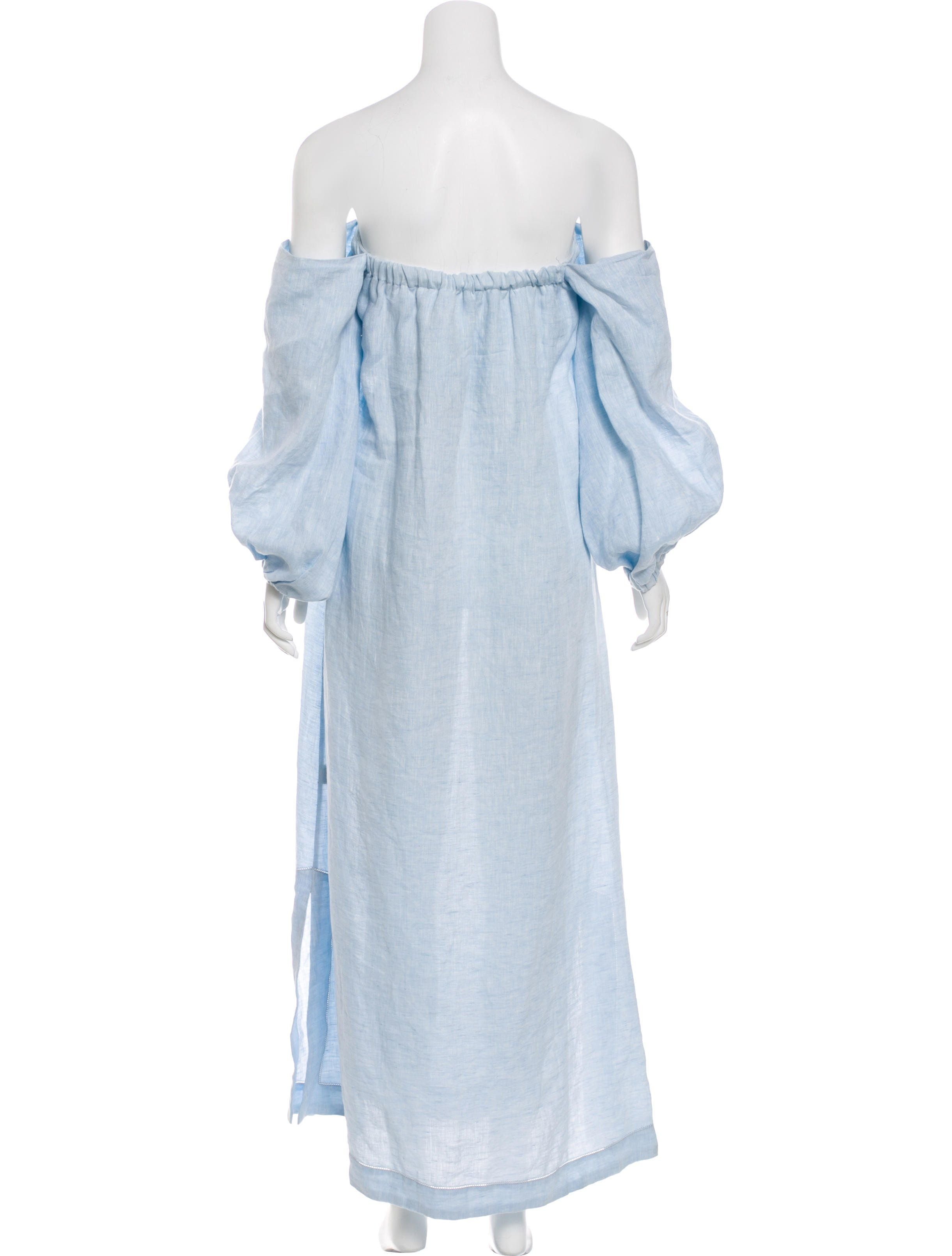 ab51e2f42e Blue Lisa Marie Fernandez off-the-shoulder linen dress with long sleeves  and dual seam pockets at sides. Designer size 2.