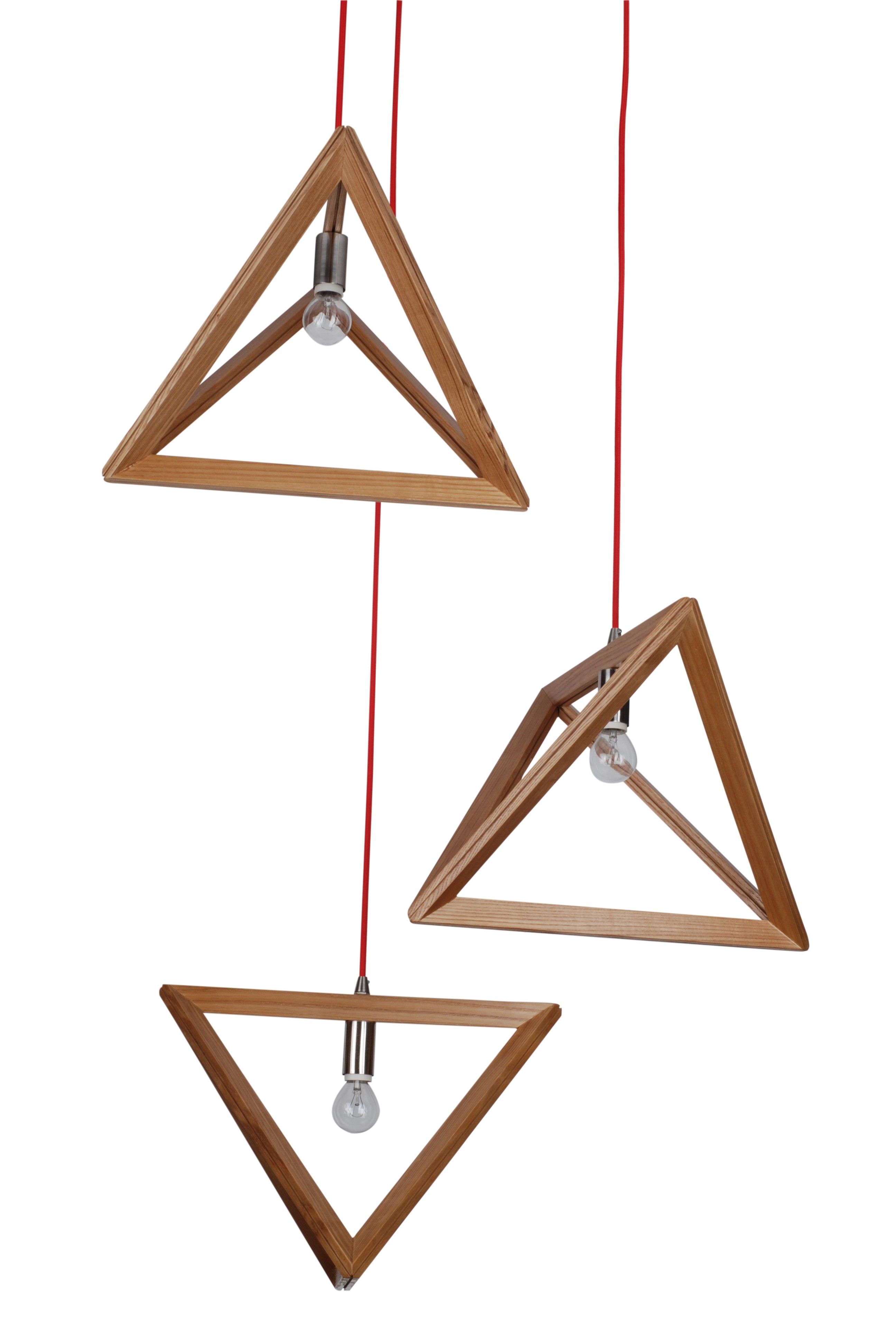 Pendant Light Natural Timber Wood Triangle
