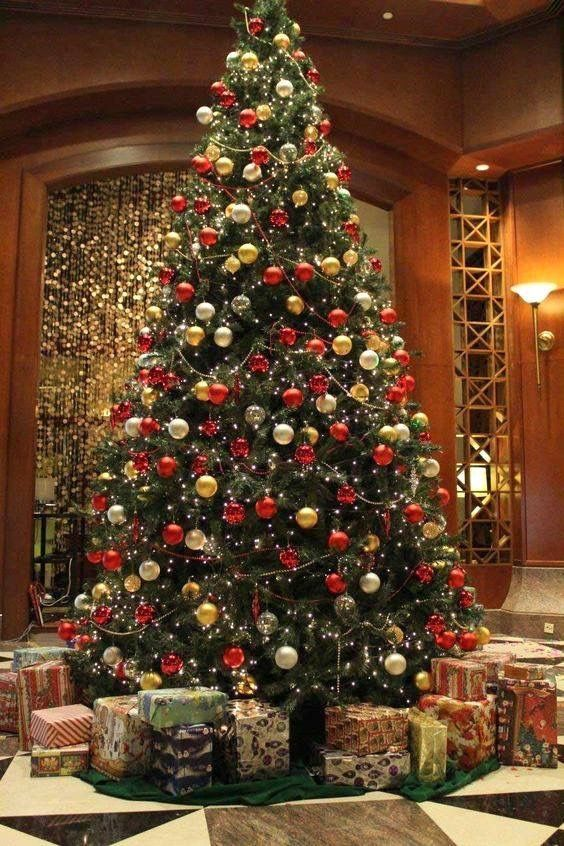 Christmas Tree Gold And Red Decorations Tall Trees