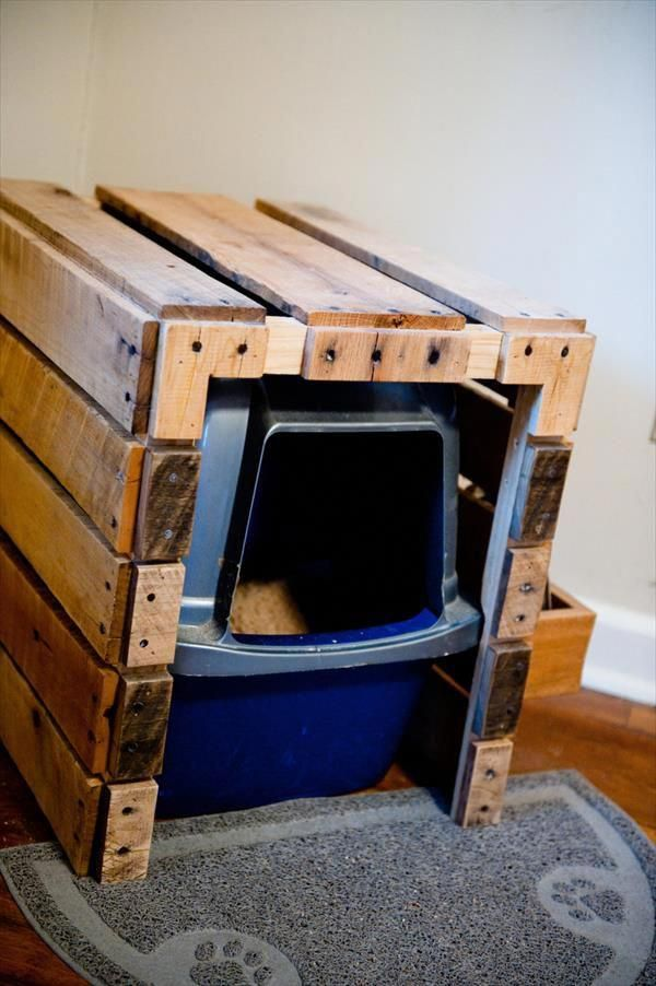 Diy Pallet Litter Box With Scoop Holster Patio Furniture