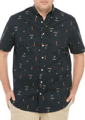 Saddlebred Big & Tall Short Sleeve Hula Printed Poplin Shirt - Black - 3X