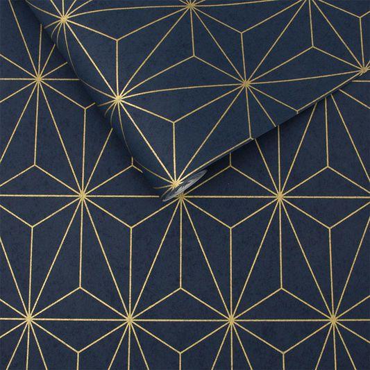 Prism Navy & Gold Wallpaper Graham & Brown UK Papier