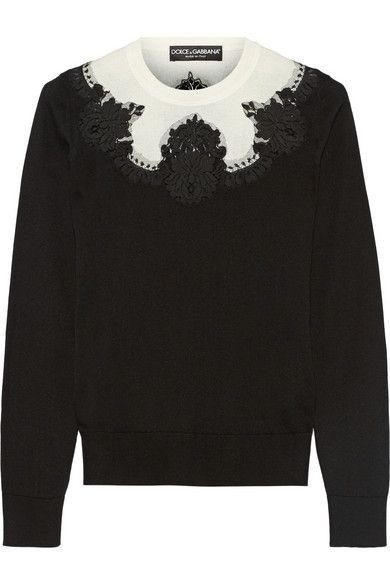 Dolce & GabbanaLace-paneled silk sweater