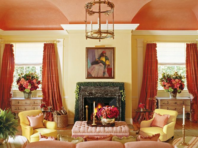 Walker simmons living room fringed coral curtains - Coral paint color for living room ...