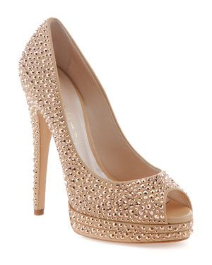 Casadei Leather Peep Toe Platform Pump - I need these for wedding day!