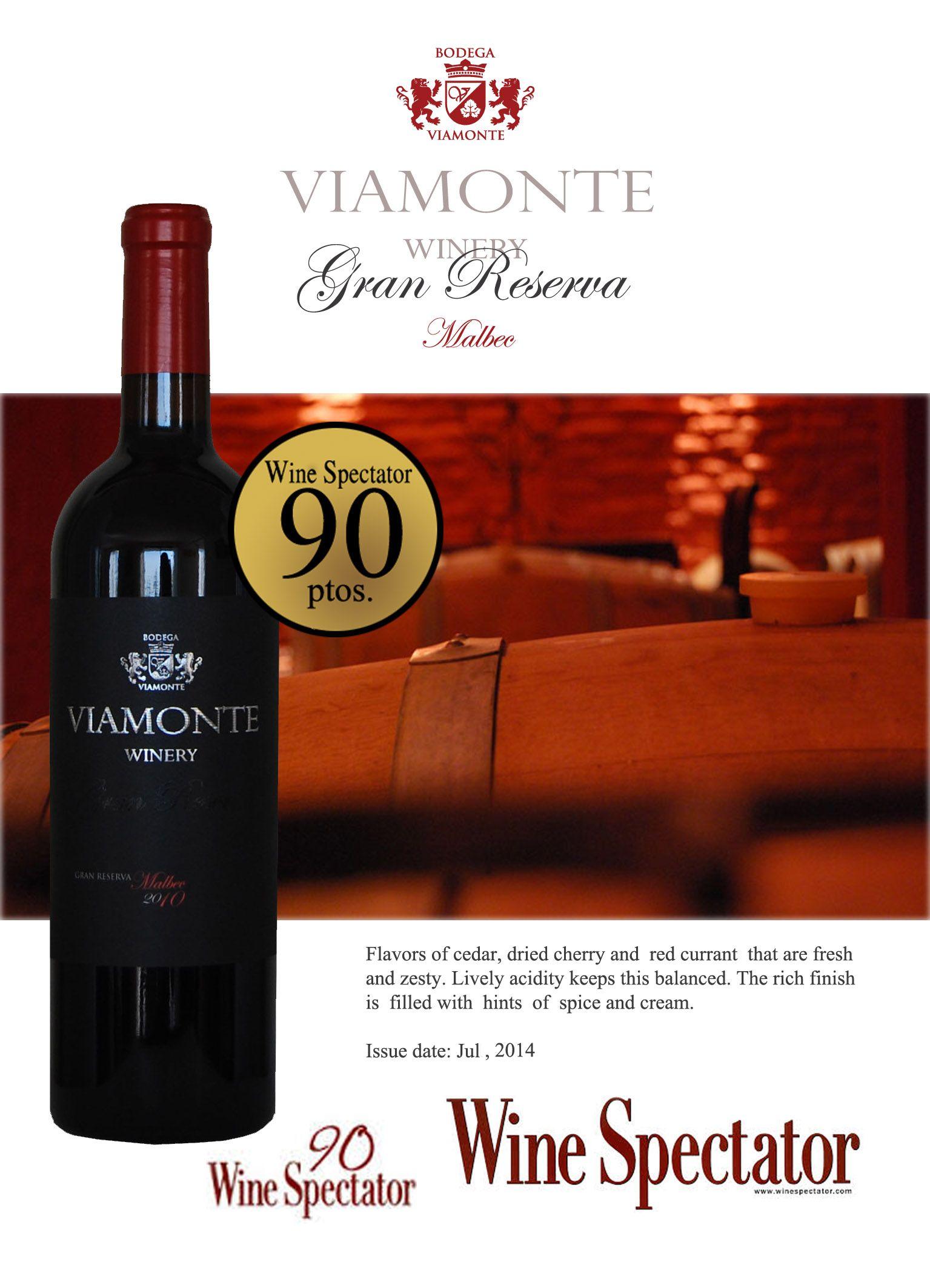 90 Points Wine Spectator Viamonte Gran Reserve Malbec Vistalba Mendoza Argentina Bodegas Enologo