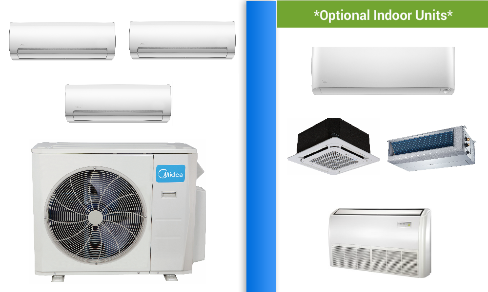 Midea 3 Zone 27k Mini Split In Minisplitwarehouse Com Buy Now Special Discounts Best Off Heat Pump Air Conditioner Air Conditioner Prices Ductless Mini Split
