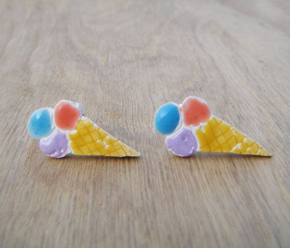 Those are fun ice cream earrings. The materials are brass hooks, and handmade glazed ceramic.    This item is ready to ship now! Please dont