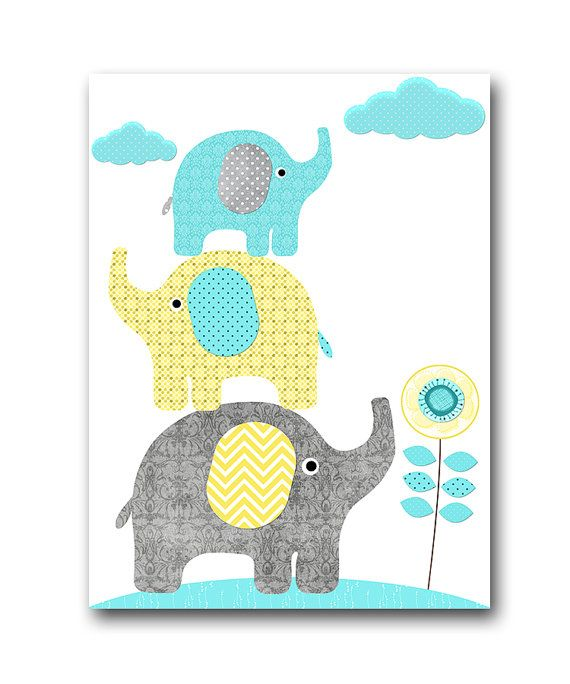 Grey Aqua Yellow Elephant Decor for Nursery Digital Wall Art Baby ...