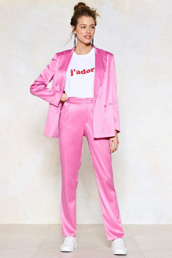 27a47f96826b Sleek 'Em Out Satin Pants in 2019 | outfit | Trendy suits, Pink ...