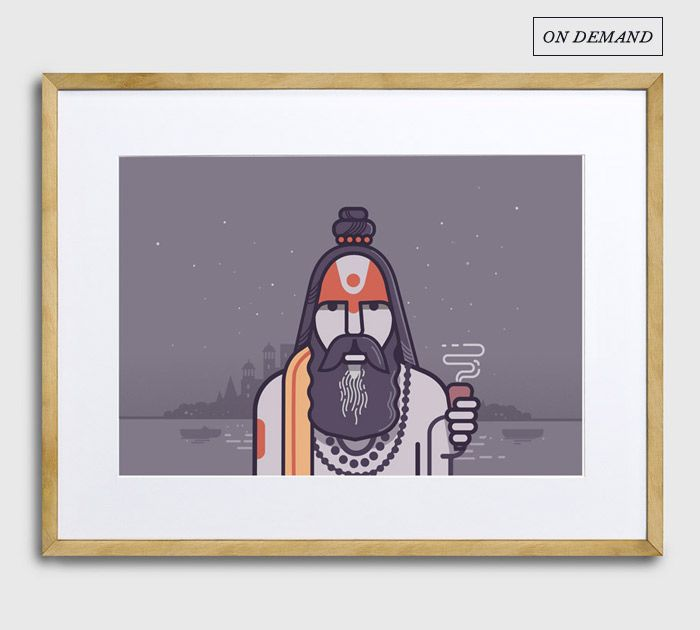 SADHU 3 | In a series dedicated to India's 'Holy Men', Ranganath highlights a variety of Sadhus - with their bright attire, ash coloured bodies and dread locks or the symbols painted on their forehead, each of them are unique embodiments of the philosophies they believe in. || Theme - ON DEMAND | Artist - RANGANATH KRISHNAMANI || A5 / A4 / A3 / A2 || Choice of White, Black, Natural Wood Frame || #ThisIsMyArt #ArtIsLife ● Own it & #SupportTheArtist ● ☏ (+91) 22 265509