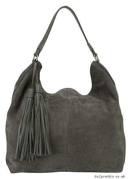 Phase Eight Harper Suede Hobo Bag Grey Handbags 227032965